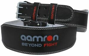 """Aamron ® 4"""" Weight Lifting Leather Belt Back Support Gym Power Fitness Training"""
