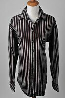 Claborne Class Black Red Gray Striped Button Down Long Sleeve Dress Shirt Size M