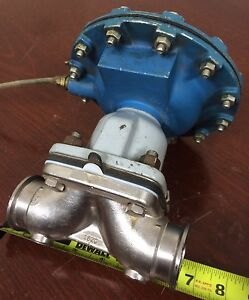 """ITT Stainless Steel Diaphragm Valve 1-1/2"""" Tri-clamp with No. 12 Air Motor 3312"""