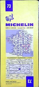 Ancienne carte Michelin collector-200 000é, Clermont-Ferrand - Lyon