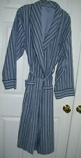 Nautica Men Robe L/XL Wrap/Tie Long Sleeve Blue Stripe 100% Cotton