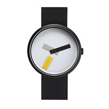"Projects Watches ""Suprematism"" Acciaio IP Nero Bianco Silicone Unisex Orologio"