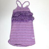 Naartjie Girls S 4 Purple Stripes Floral Sun Dress