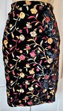 FAB BOHO Embroidered flowers velvet lined Karen Boyd high waist pencil skirt UK8