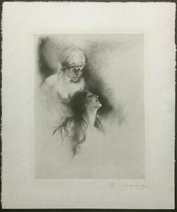 CARL JOSEF BAUER Hand Signed ~ ART DECO NUDES ~ Etching GERMAN c.1920