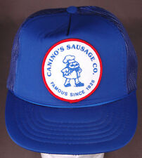 Vtg Canino's Sausage Co Hat-Famous Since 1925-Patch-Rope Bill-Blue-Snapback-Mesh