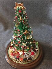 "Holiday Decor Center Piece Christmas Tree with Glass Dome 12.5"" Collectible"