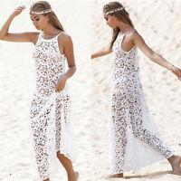 Women Sexy Lace Crochet Bikini Cover Up Swimwear Summer Beach Long Dress Tops