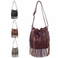 Ladies Faux Leather Fringe Shoulder Bag Dolly Tassel Handbag Cross Body Bag K380