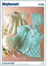"Stylecraft 4186 Vintage Baby Girl Knitting Pattern 3/4 ply 16-22"" Cardigan Hat"