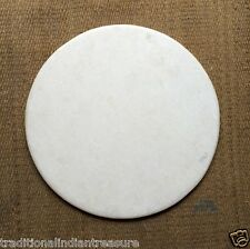 "20""x20"" White Marble Round Plain Coffee Dining Table Top Home With beveled edge"