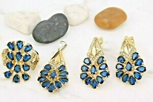 Turkish Sapphire Ring Earring Pendant 925 Sterling Silver Handmade 6,7,8,9,10