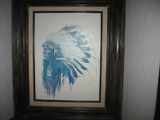 Chief Hollow Horn Bear Ken Ottinger Print with Wood Frame