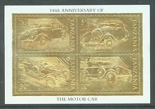 Tanzania 1986 Motoring Centenary as sg.456-9 but on 22k gold foil. MNH sheet