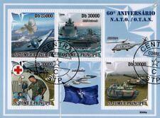 NATO Stamp Sheet (B2 Spirit Aircraft/HMS Bulwark Warship/NH90/Leclerc Tank)