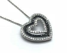 Sterling Silver 925 Black Onyx - CZ Pave Eternity Heart Love Pendant Necklace