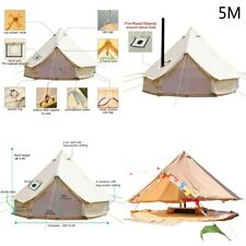 4-Season Bell Tent 5M Canvas Tent Waterproof Glamping Stove Jack fit for 6person