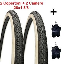 """2 Copertoni Bianco/Nero + Camere d'aria 26x1-3/8 Deestone per Bici 26"""" R Viaggio"""
