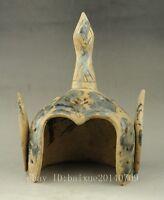 Rare china Old Jade Carving Dynasty Palace General Warrior Helmet Hat Cap j02