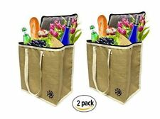 Jute Lrg Insulated Shopping Grocery Bags w/ZIPPER TOP LID Thermal (2 pack)