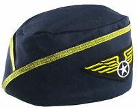 Womens Navy Stewardess Wings Flight Attendant Hat Cap Cosplay Costume Accessory
