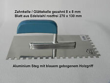 Glättekelle gezahnt 8x8 mm 270x130 Edelstahl rostfrei, mit Alu-Steg u. Holzgriff