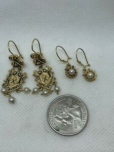 Beautiful Lot of 2 Pair of 14k Victorian Pearl Dangle Earrings Wear Not Scrap