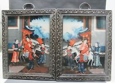 Fine Pair of Antique Chinese Reverse Paintings on glass c. 1850 court figures