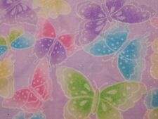 SPARKLING PASTEL BUTTERFLYS 100% COTTON LAVENDER QUILTING FABRIC 1 YD. X 45