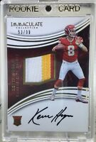2016 Immaculate KEVIN HOGAN RC 3 CLR RPA JSY Patch On-Card AUTO 53/99 SP Chiefs