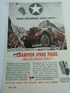 MAY 1944 MAGAZINE PAGE #A316- CHAMPION SPARK PLUGS ARE ON ACTIVE DUTY!
