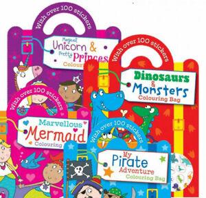 Childrens Colouring & Sticker Activity Bag Shape Book 4 Assorted Designs