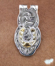 Western Silver Gold Money Clip Mens Cowboy Rodeo Horseshoe  Engraved Horse