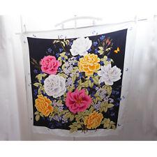 "Vintage Silk Scarf Hanae Mori Butterfly Floral Pink Gray Black Japan 41"" x 42"""