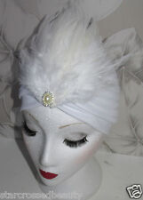 White 1920s Turban Headpiece Headband Flapper Great Gatsby Feather Hat 1930s H99