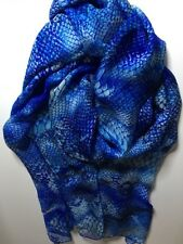 100% Pure Mulberry Silk Scarf Snake Skin Royal Blue 🇦🇺 Crafted 66x214cm X Long