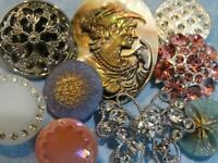 STUNNING VINTAGE & NEW LACY BUTTONS Glass Rhinestone Pearl Cameo Pink Aqua Blue