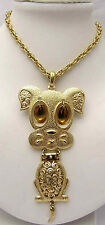 "SARAH COVENTRY 23"" Jointed Dog Necklace Large Cutout Design Pendant Gold Tone"
