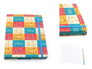 A5 bicycle print colourful hardback notebook journal jotter lined paper