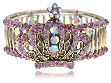 Womens Stretchy Gold Tone Pink Rhinestones Vintage Antique Crown Bangle Bracelet