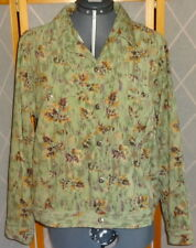 CHRISTOPHER & BANKS Stretch Size L Green Brown Tan Floral Buttons Lined Jacket