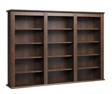Wall Mounted Espresso Media Storage Triple Shelf Dvd Cd Home Living Room Decor