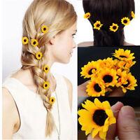 10Pcs Fashion Yellow Sunflower Hair Clips Hair Pins Wedding Bridal Prom Brooch