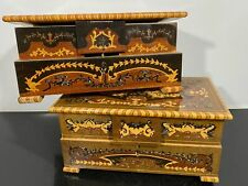 Vtg 2pc RARE Fancy Marquetry Inlaid Footed Jewelry Music Boxes Italy