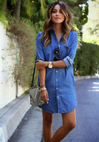 S-2XL Women's Denim Jean Dress Blue Short Sleeve Medium Wash Summer Shirt Dress