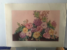 vintage Nancy Bowen SINGED NUMBERED ROSES ETCHING print Never framed 22x30