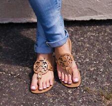 TORY BURCH Miller Royal Tan Sand Beige Vintage Leather Flip Flop Sandal Size 7.5