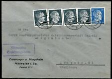 WWII II ERA GERMANY CHANCELLOR FRANKED 4X1 & 20  pfg STAMPS COVER MITTWELDA