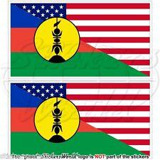 "USA United States America-NEW CALEDONIA Kanak Flag 100mm (4"") Stickers Decals x2"