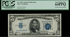 1934A $5 Silver Certificate FR-1651* - Star Note - Graded PCGS 64PPQ